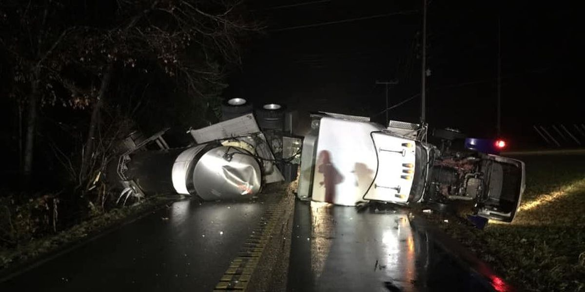 Road closed due to overturned milk truck in Powhatan
