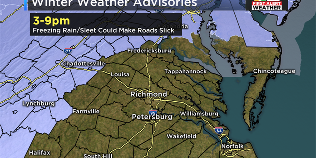 FIRST ALERT: Winter weather advisory for parts of Virginia