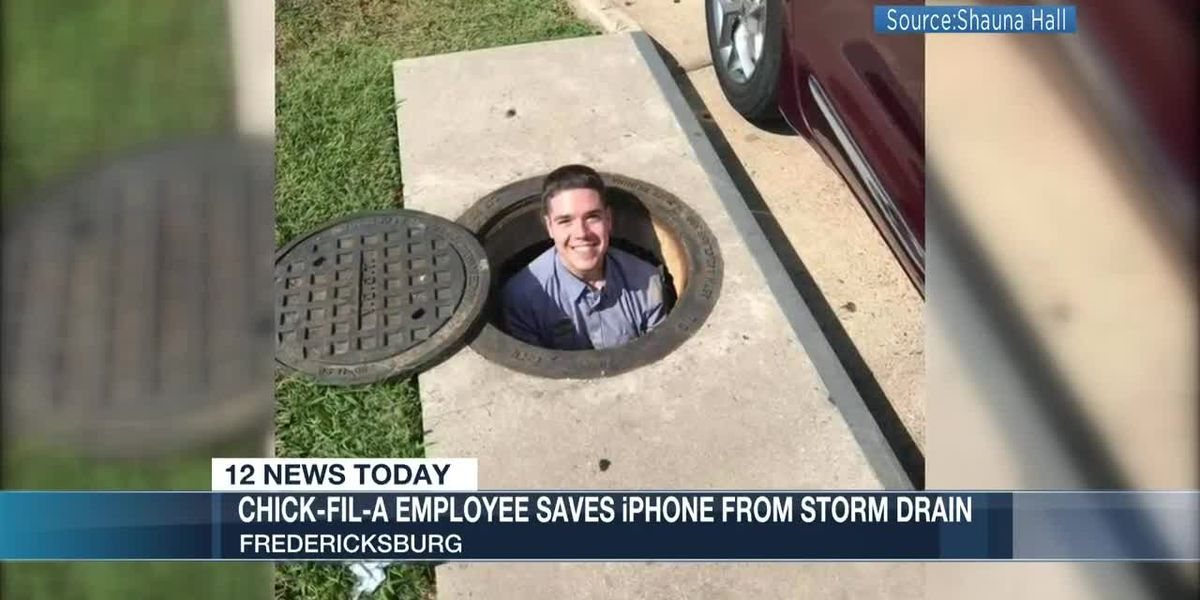 Chick-fil-A employee saves iPhone from storm drain