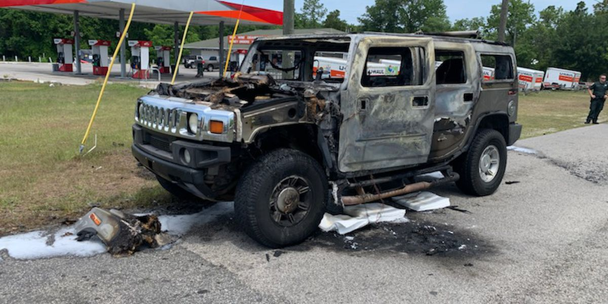 Gas stockpile, SUV go up in smoke