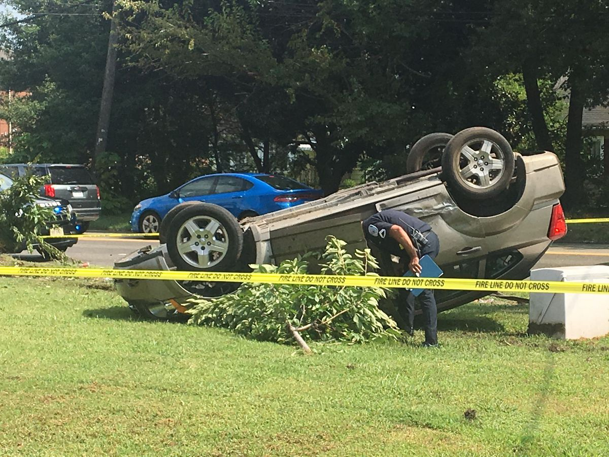 Car lands on roof after hit-and-run crash in Richmond