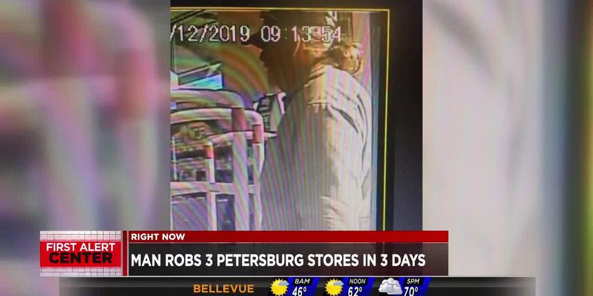 Suspect robs 3 Petersburg stores in 3 days