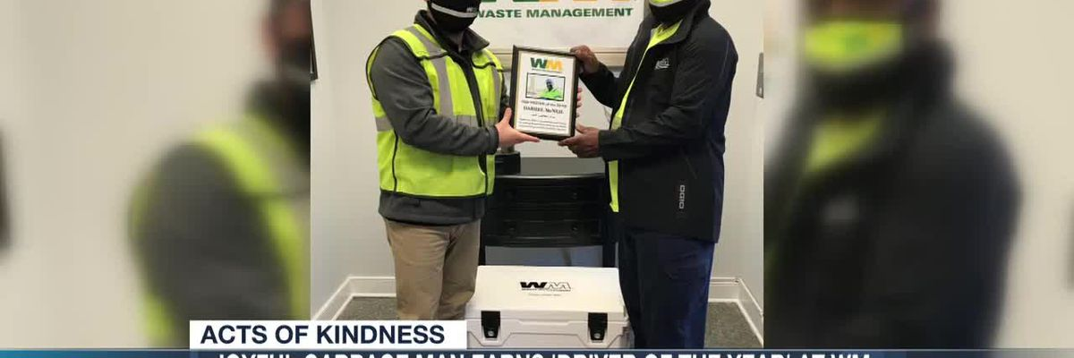 Joyful garbage man earns 'Driver of the Year' at Waste Management