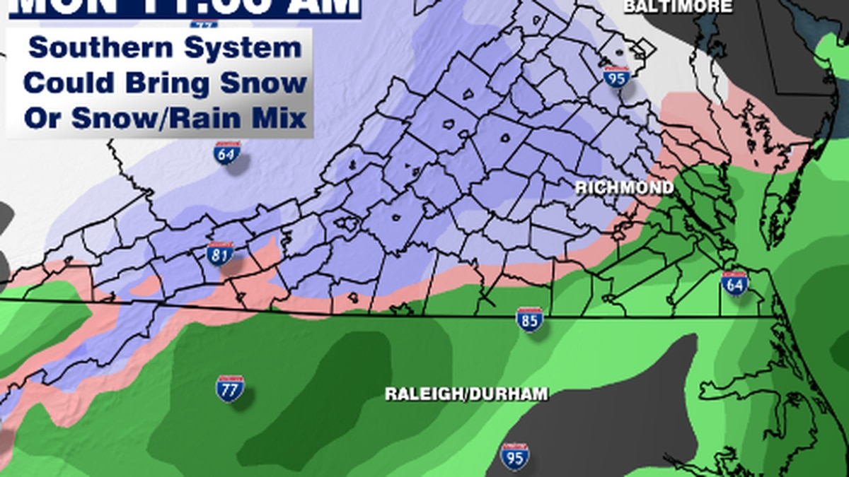 First Alert: Small chance Monday could bring our first snowflakes of the year