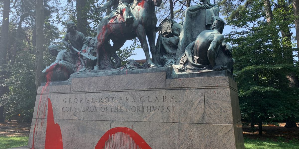 George Rogers Clark statue at University of Virginia found covered in red paint
