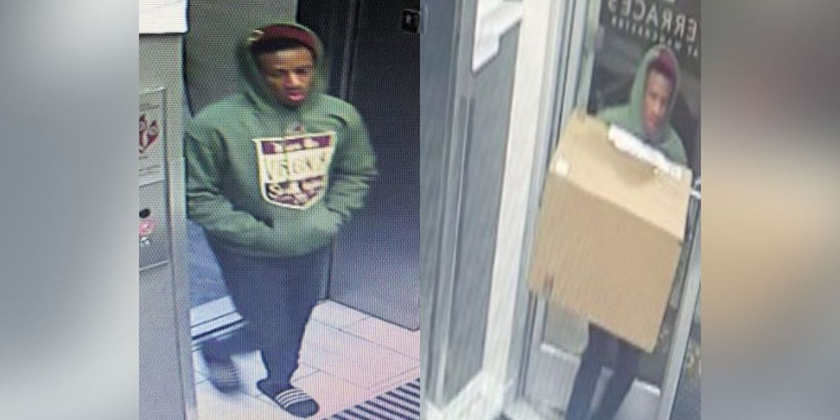 Police search for man accused of stealing package from mailroom