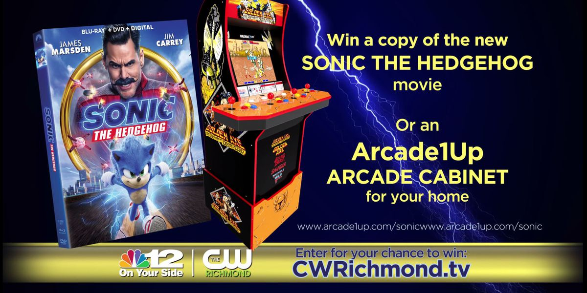 Enter to win a copy of the new 'Sonic the Hedgehog' movie or an 'Arcade1Up' arcade cabinet