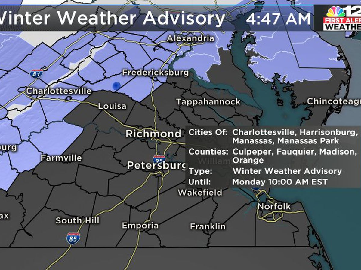 First Alert: Louisa schools delayed; ice possible north, west of Richmond