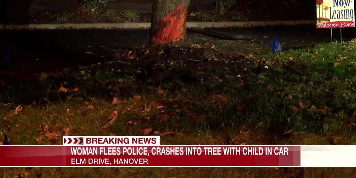 Woman crashes car after fleeing traffic stop in Hanover; child injured