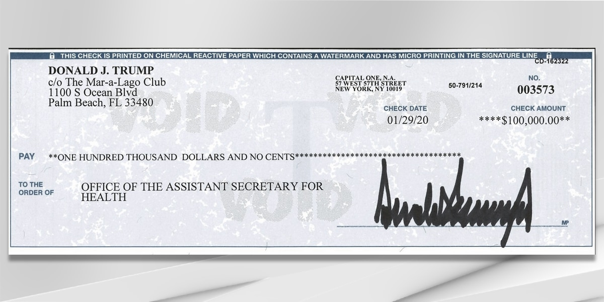 President Trump gives his quarterly salary to help in the fight against the coronavirus