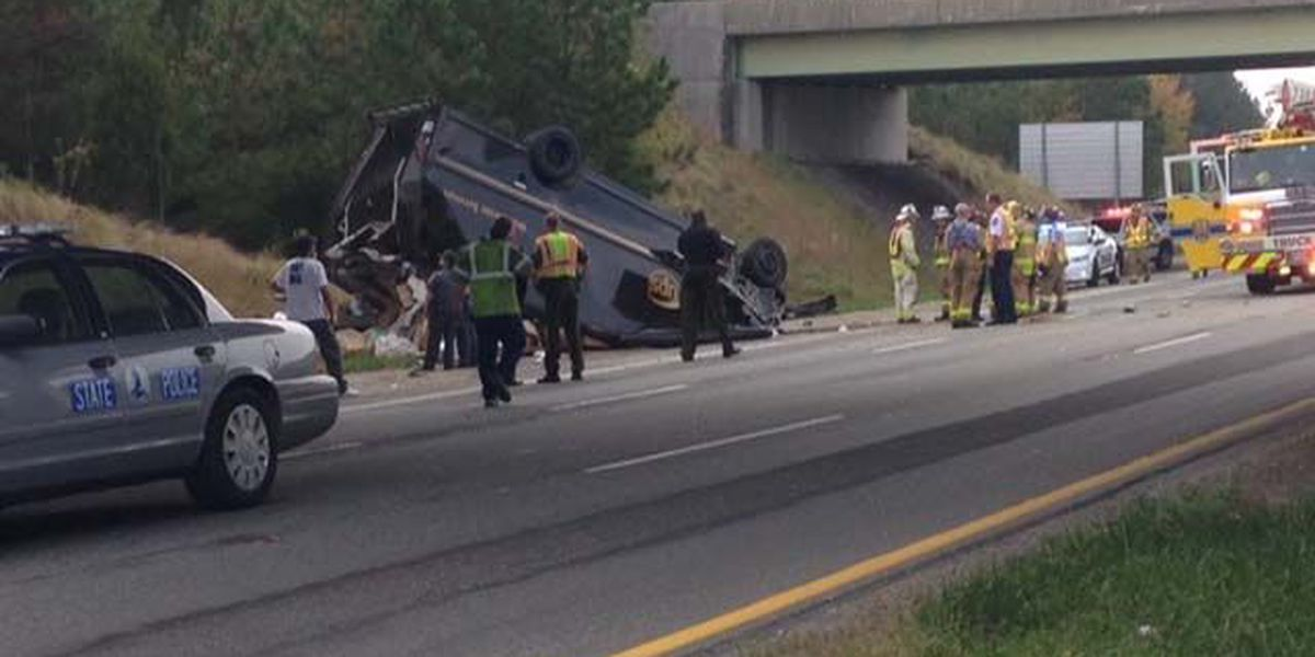 All lanes back open after UPS truck overturns on Iron Bridge Rd in Chesterfield