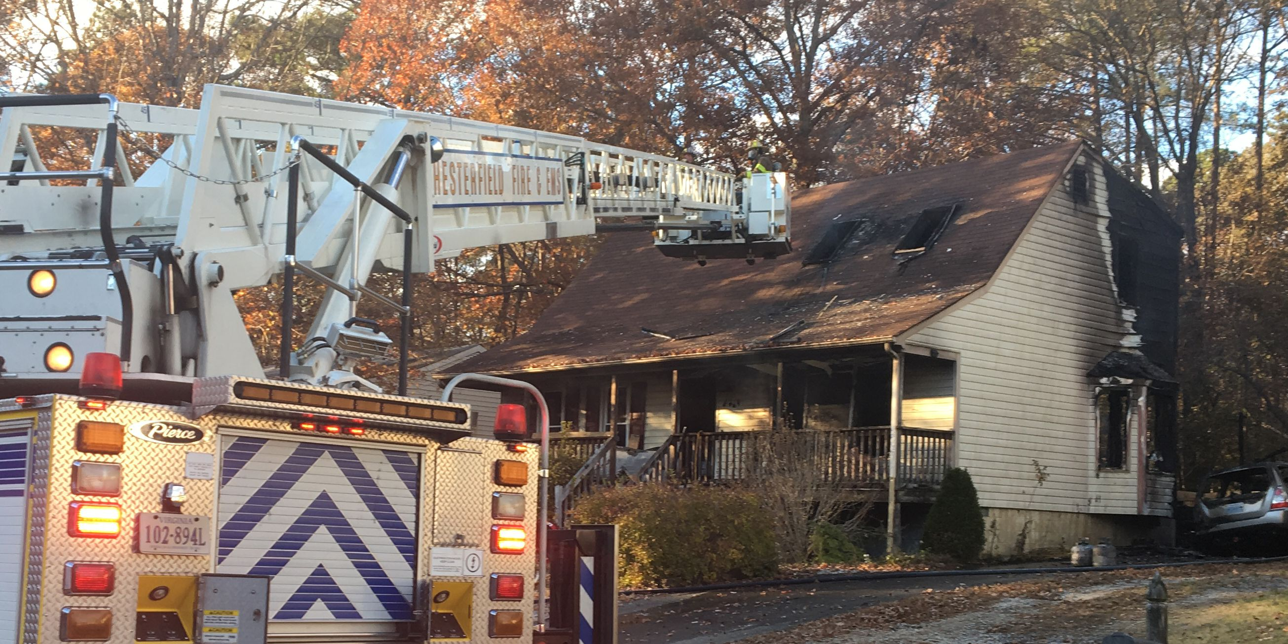 Heating lamp on back deck sparks Chesterfield fire that killed dog