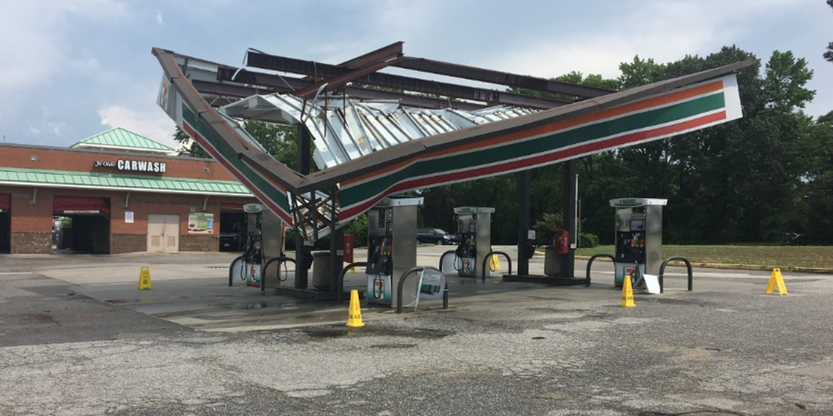 Storms cause damage to 7-Eleven canopy over gas pumps