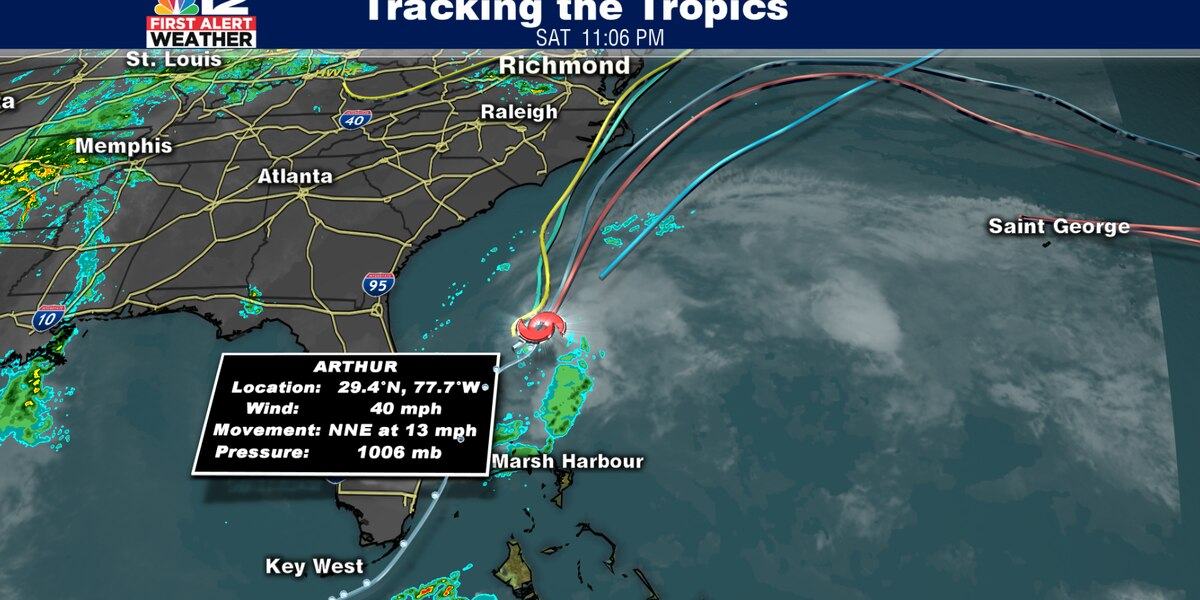 Tropical Storm Arthur moves away from the coast