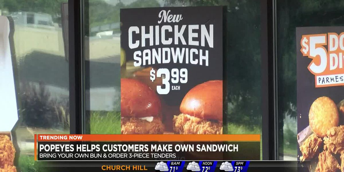 Popeyes helps customers make own sandwich