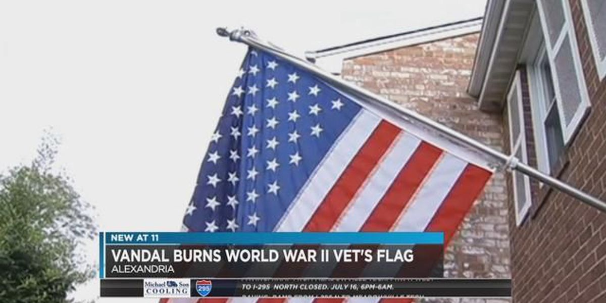 VA WWII vet wakes up to find American flag destroyed