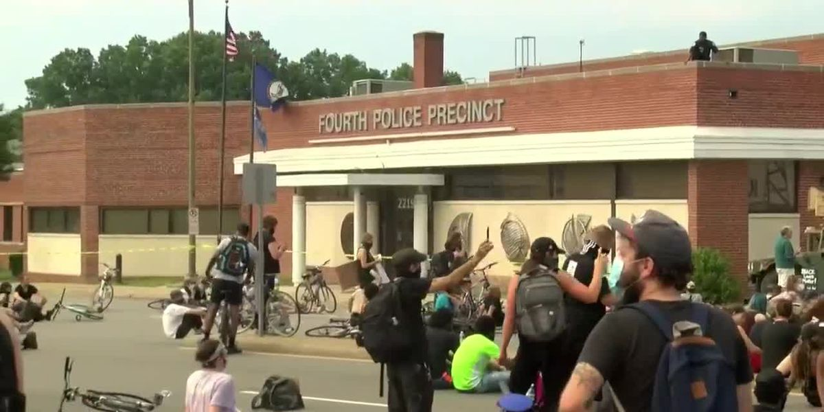 Protesters gather outside RPD's Fourth Precinct