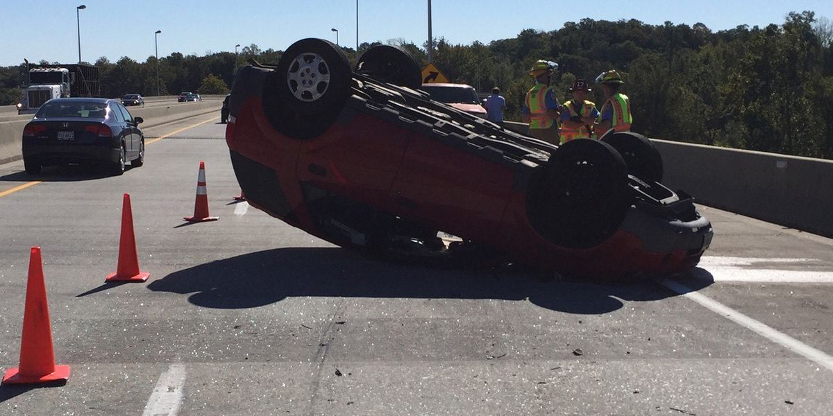 Vehicle overturns in crash on Willey Bridge