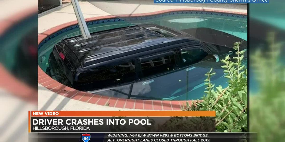 Driver crashes into pool
