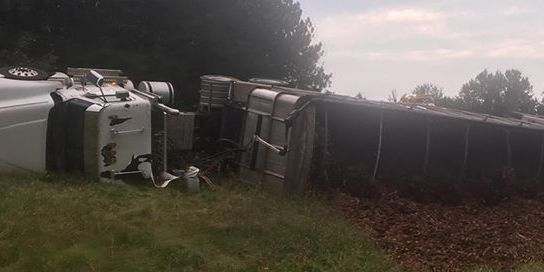 Overturned tractor-trailer closes 288 south ramp onto I-95