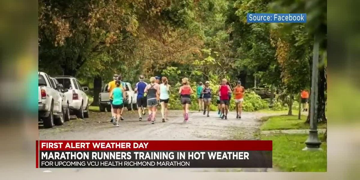 Marathon runners training in hot weather