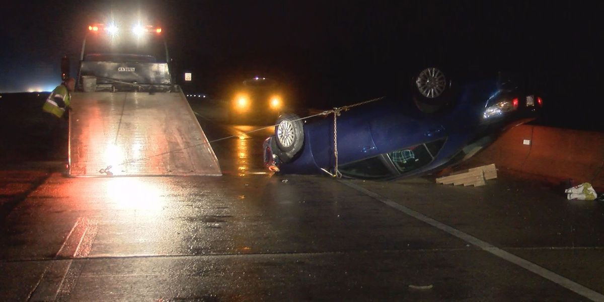 Car flips on I-95 in Chesterfield in hit-and-run