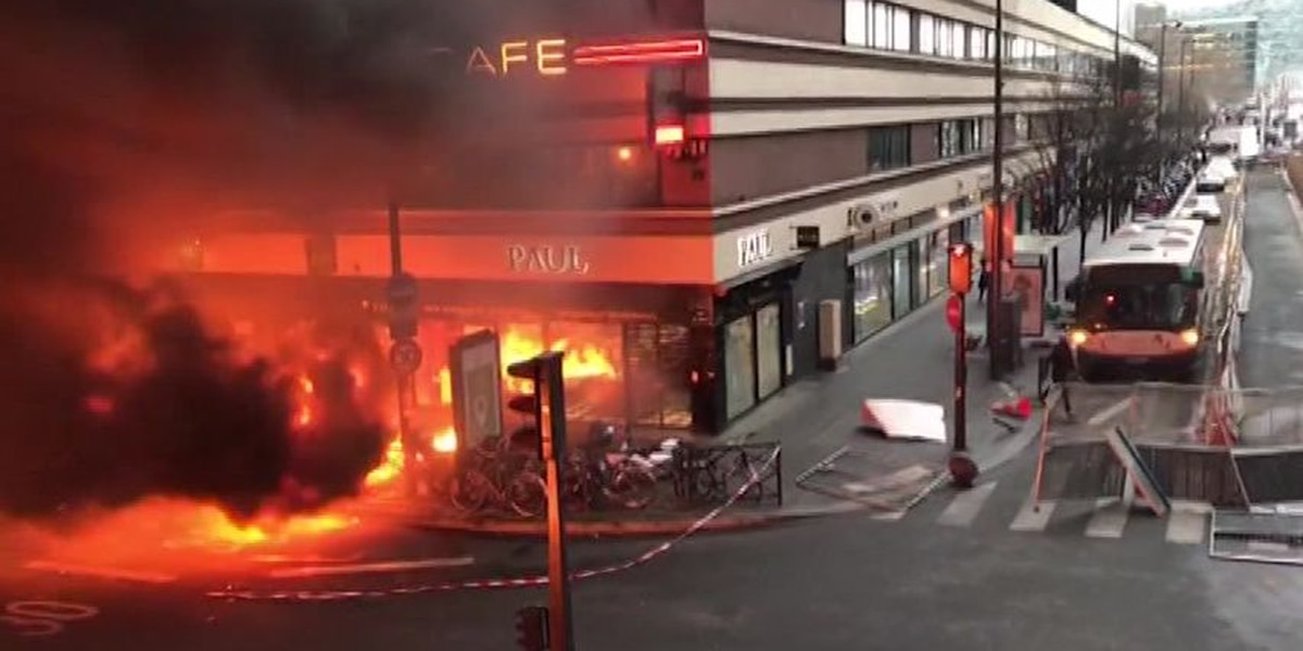 Huge fire breaks out at France train station