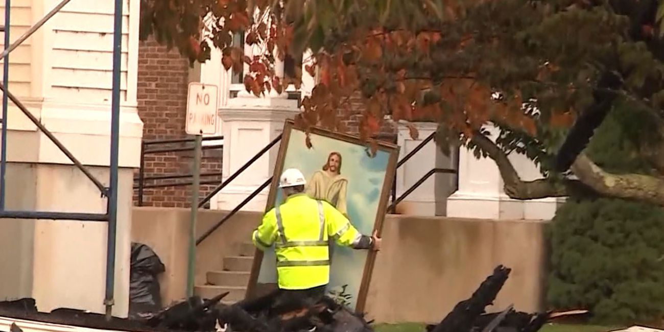 Holy smokes: Painting of Jesus survives fire that decimated historic church