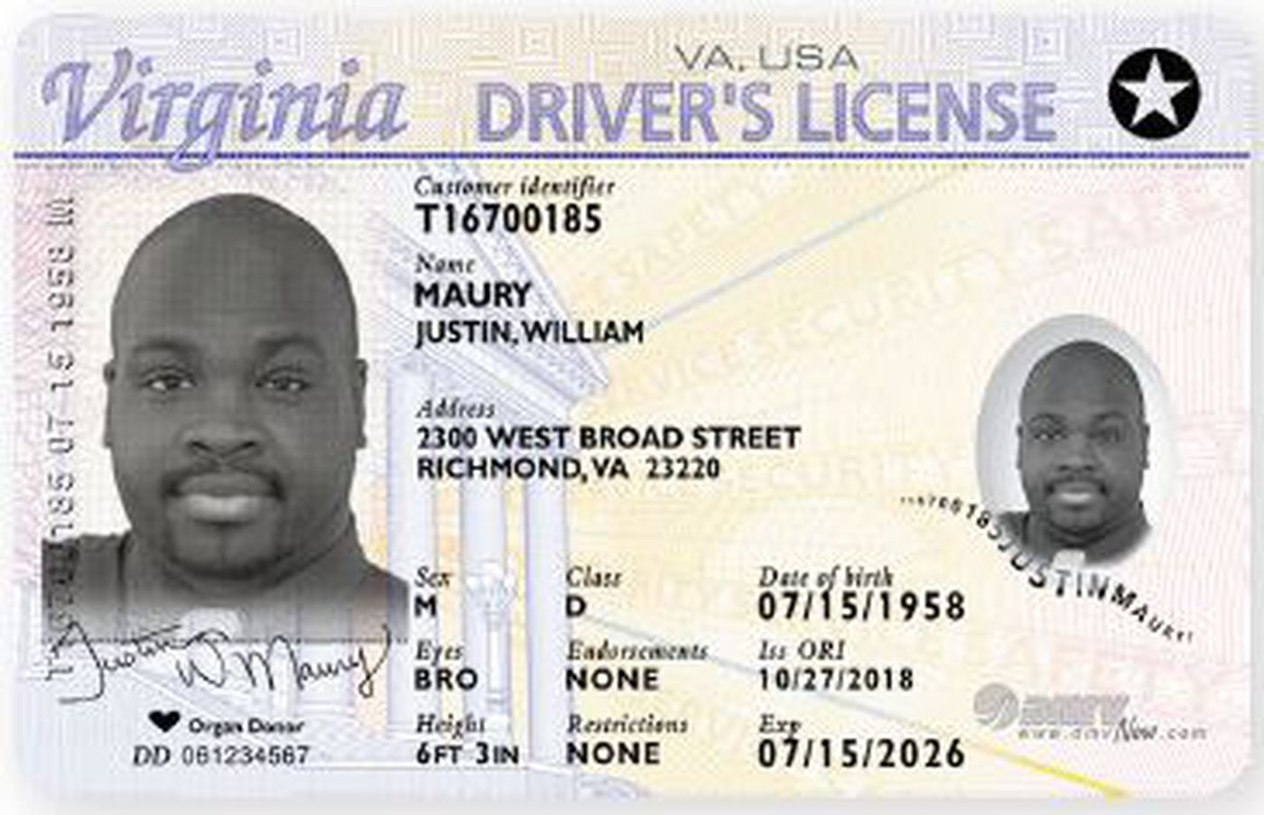 A REAL ID compliant Virginia driver's license.