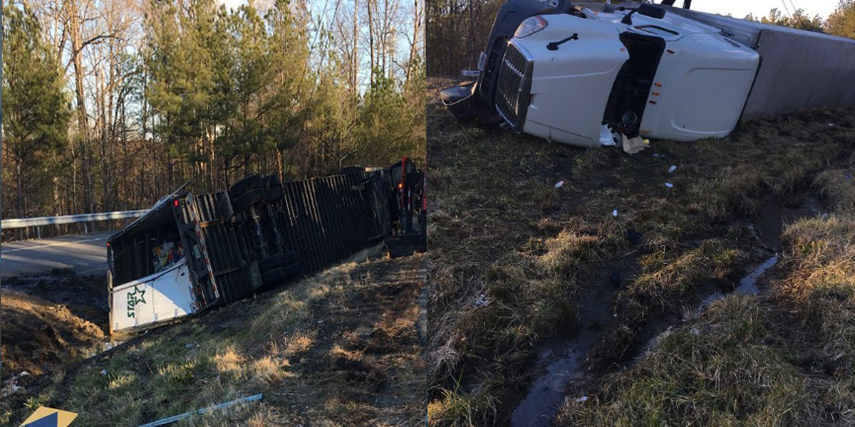 Driver charged after tractor-trailer overturns in Chesterfield
