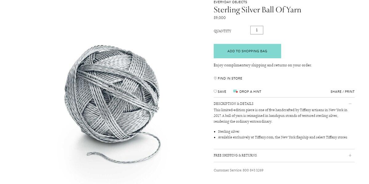 Tiffany & Co. sells $9,000 ball of yarn