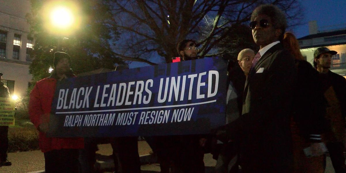 'Northam needs to resign': Protesters gather outside Governor's Mansion