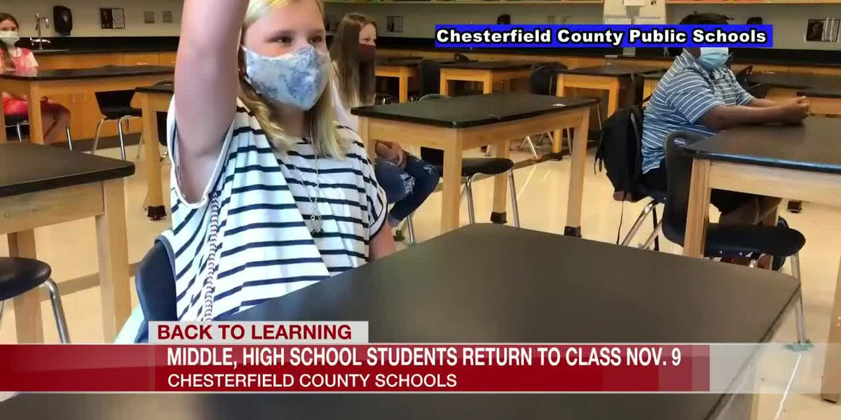 Chesterfield middle and high school students to return to the classroom Nov. 9