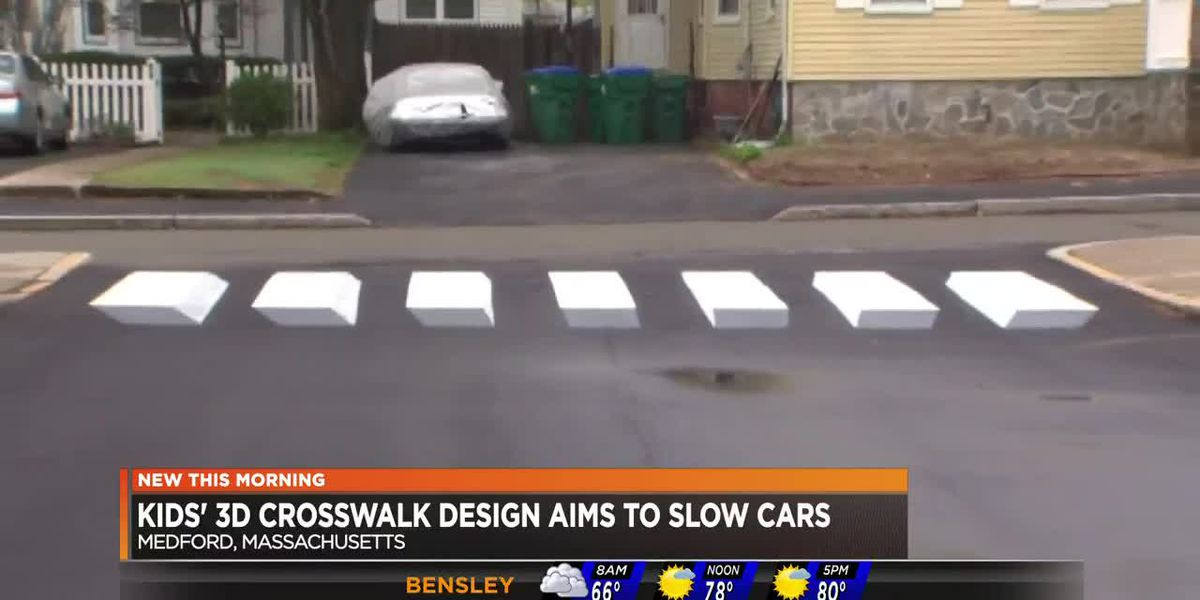Kids' 3D crosswalk design aims to slow cars