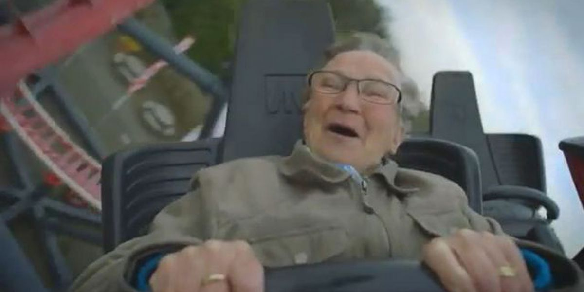 VIDEO: Granny rides roller coaster, can't stop laughing